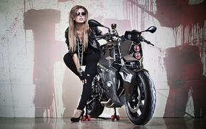 Picture girl, background, tuning, headlight, BMW, BMW, motorcycle, bike, beauty, Predator, tuning, F800 R, Custom Bike, …