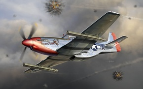 Picture the plane, Mustang, fighter, battle, art, air, Mustang, USA, action, BBC, North American, North American, …