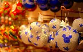 Wallpaper Mickey mouse, holiday, shop, Christmas decorations, balls, Shine, celebration