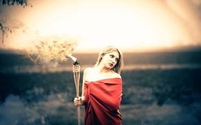 Picture girl, torch, Wieslaw Berar