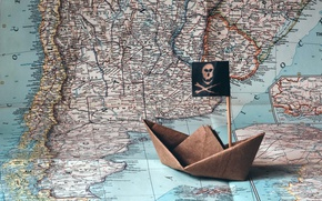 Picture ship, map, origami