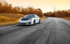 Picture road, white, 911, Porsche, before, white, sports car, Porsche, GT3, in motion
