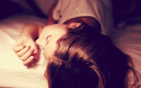 Picture girl, face, background, situation, stay, Wallpaper, sleep, sleeping, red