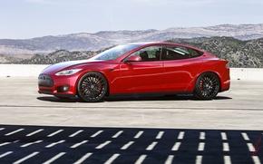 Picture Red, Car, Sun, Tesla, Wheels, Model S, Glare