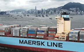 Picture Hong Kong, Court, Maersk, The ship, The city, Overcast, A container ship, Maersk Line, Cargo, ...