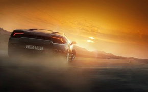 Picture Lamborghini, Grey, Colors, Rear, Huracan, Drifting, LP 580-2