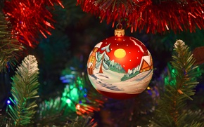 Picture ball, New Year, Christmas, decoration, tinsel, Christmas, painting, New Year, Christmas, Xmas, Merry