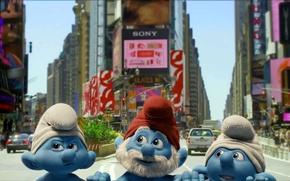 Wallpaper street, caps, New York, look, the city, Smurfs, gnomes, The Smurfs, Smurfs