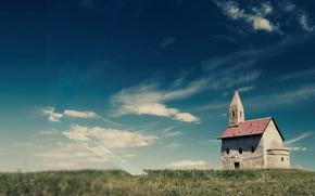 Wallpaper clouds, the sky, grass, field, Church