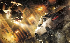 Wallpaper street, speed, chase, helicopter, shots, Ford Mustang Shelby GT500, Need for Speed: The Run