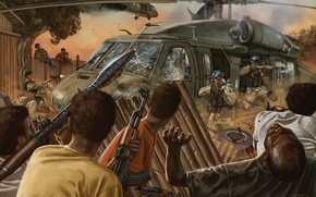 Picture machine, helicopter, soldiers, Africa, Negros, Black Hawk Down
