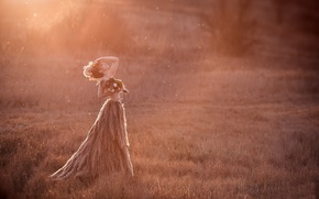 Picture field, sunset, nature, woman