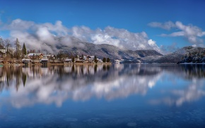 Picture the sky, mountains, lake, home, Germany, Bayern, Valiente