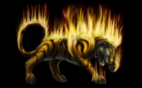 Picture fantasy, fire, art, beast