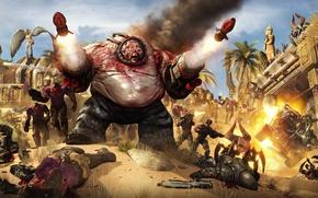 Picture the explosion, war, missiles, monsters, battle, aliens, enemies, Serious Sam, Scrapjack