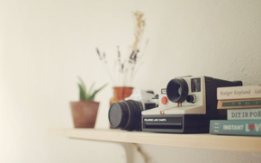 Picture cameras, books, Polaroid, Pentax
