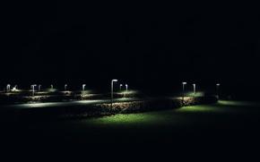 Wallpaper Bush, lantern, grass, night