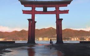 Picture mountains, bike, shore, gate, Japan, girl, Bay, Japan, art, torii, Guweiz