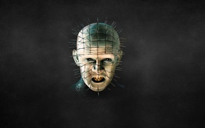 Picture the dark background, head, nails, Hellraiser, Pinhead, Pinhead, Hellraiser