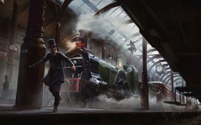 Picture Assassin's Creed, Station, Jacob Fry, Assassins Creed, Light, Syndicate, Syndicate, Cars, Smoke, Chase, Art, The …