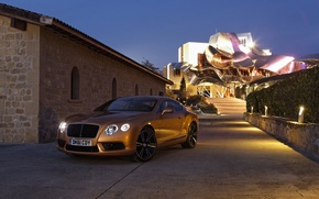 Picture roof, the sky, lights, coupe, the evening, continental, bentley, twilight, the front, Bentley, continental