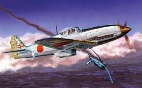 Picture war, art, airplane, painting, aviation, ww2, japanese airplane, Kawasaki Ki-61 Hien