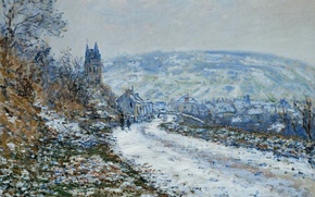 Wallpaper Claude Monet, picture, landscape, On the Approach to the Village of Vétheuil in Winter