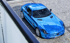 Picture Mercedes-Benz, Blue, Machine, The hood, Pavers, AMG, Coupe, SLS, Supercar, The view from the top