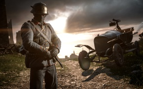 Picture soldiers, car, Electronic Arts, Battlefield 1