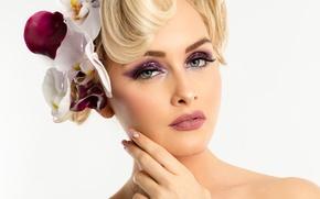 Picture girl, face, eyelashes, hair, makeup, lips, Yris Jacqmin