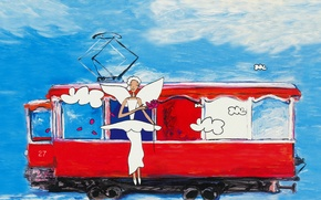 Picture white, flower, summer, the sky, blue, wings, angel, picture, art, tram, painting, harmony, painting, pencils, ...