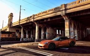 Picture orange, bridge, graffiti, train, Z06, Corvette, Chevrolet, Chevrolet, Corvette, orange, painting