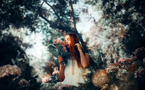 Picture girl, flowers, spring
