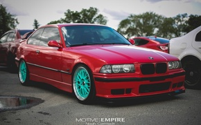 Picture tuning, bmw, BMW, red, wheels, tuning, power, front, face, germany, low, stance, e36
