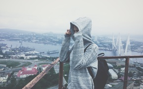 Picture sea, landscape, bridge, city, the city, height, Girl, tower, girl, jacket, tower, bridge, hoodie, height, …