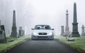 Picture fog, cemetery, subaru, Subaru, fog, legacy, legacy