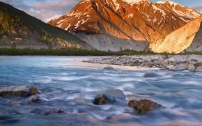 Wallpaper river, stones, mountains