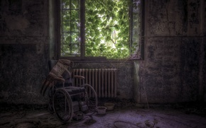 Picture room, window, a carriage