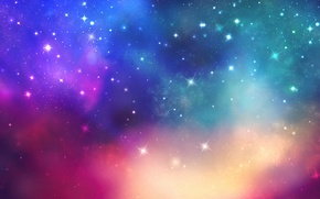 Picture space, stars, light, paint, colors, space, light, stars, 1920x1080
