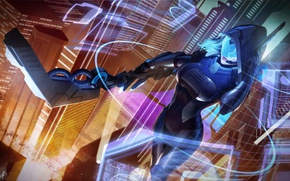 Picture night, the city, fiction, mask, bow, art, hood, Archer, League of Legends, ashe, visor, frost ...