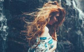 Wallpaper girl, red, shoulder
