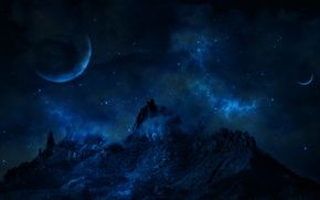 Picture space, stars, planet, Mountain