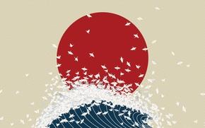 Wallpaper wave, Japan, minimalism, origami, the rising sun