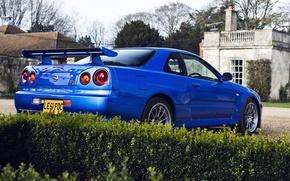 Picture blue, house, tree, Nissan, house, the bushes, skyline, Nissan, blue, gtr, tree, r34, gtr, back, …
