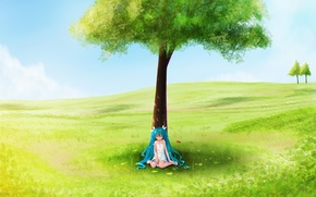 Wallpaper summer, tree, girl, field