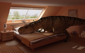 Picture room, bed, interior, dinosaur, resting, bedroom
