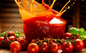 Picture squirt, branch, juice, juice, fresh, tomatoes, tomatoes