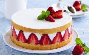 Picture berries, strawberry, cake, cake, dessert, cakes