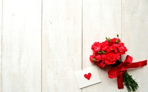 Picture flowers, holiday, tape, heart, bow, postcard, Valentine's Day, clove