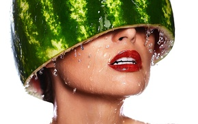 Picture water, girl, drops, head, makeup, watermelon, lips, white background, helmet